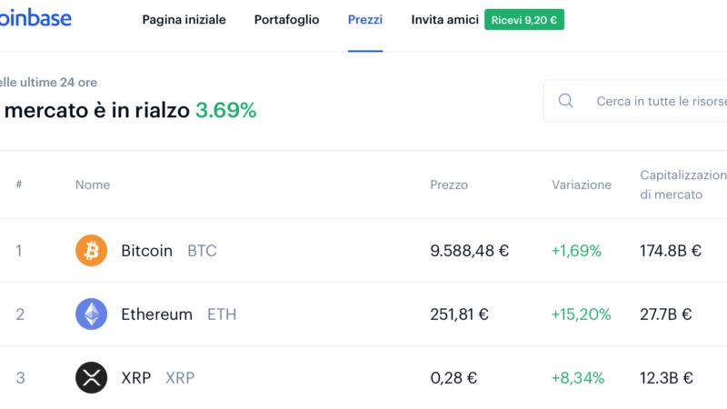 9 euro di Bitcoin gratis su Coinbase